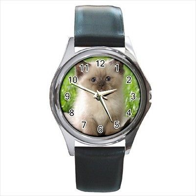 Himalayan Square Round & Square Leather Strap Watch - Cat Kitten