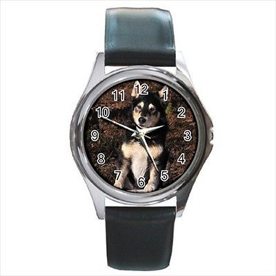 Lapponian Herder Square Round & Square Leather Strap Watch - Dog Puppy