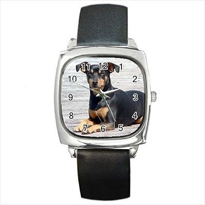 Manchester Terrier Round & Square Leather Strap Watch - Dog Puppy