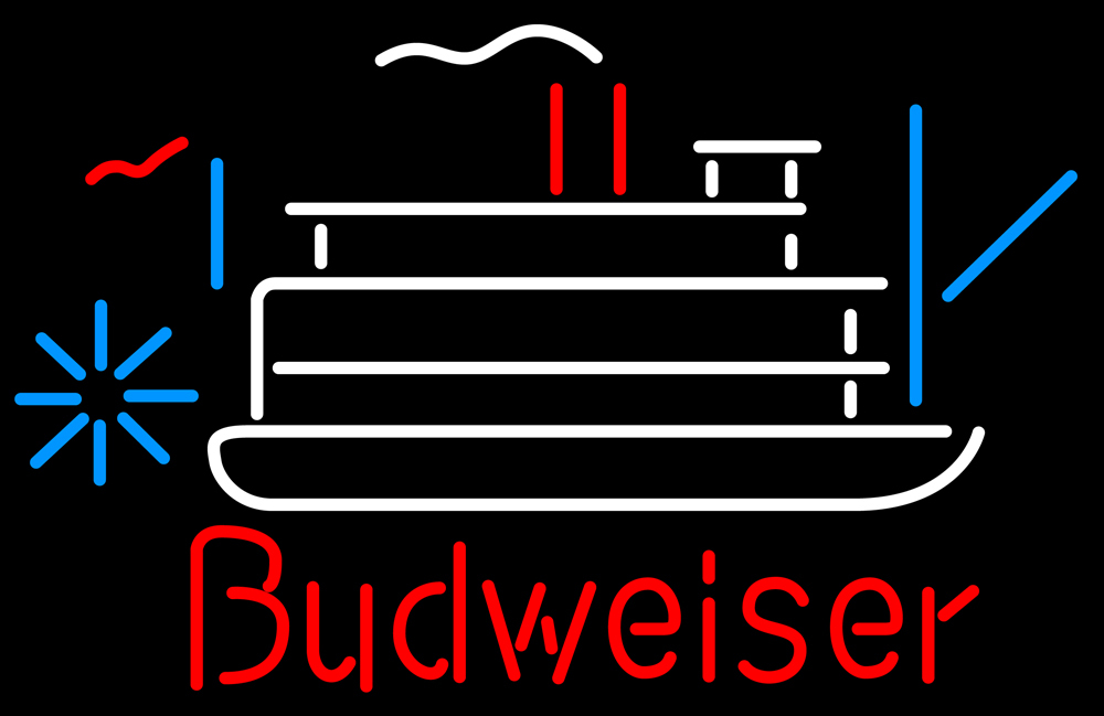 Budweiser riverboat neon sign 16  x 16