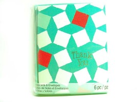 Thank You Squares - Aqua White Red Notecards - Blank Note Cards - $2.00
