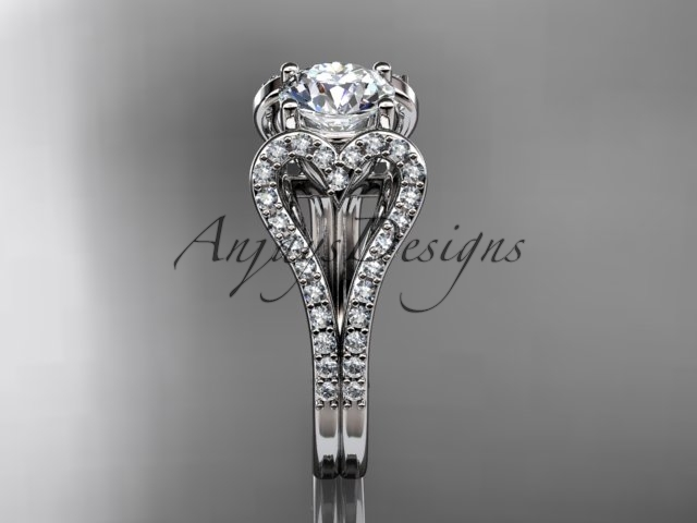 Platinum  heart engagement ring with a Moissanite center stone ADER395