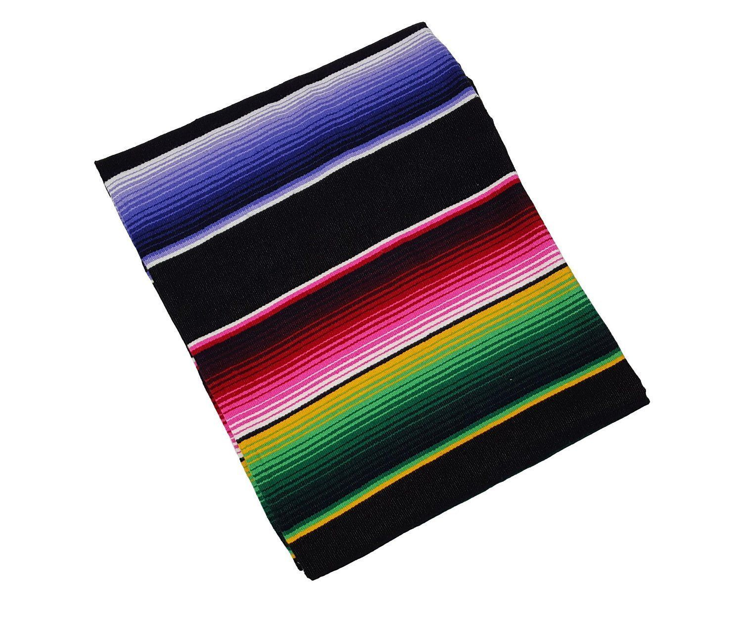 Black Bright Throw Mexican Blanket Sarape And 50 Similar Items