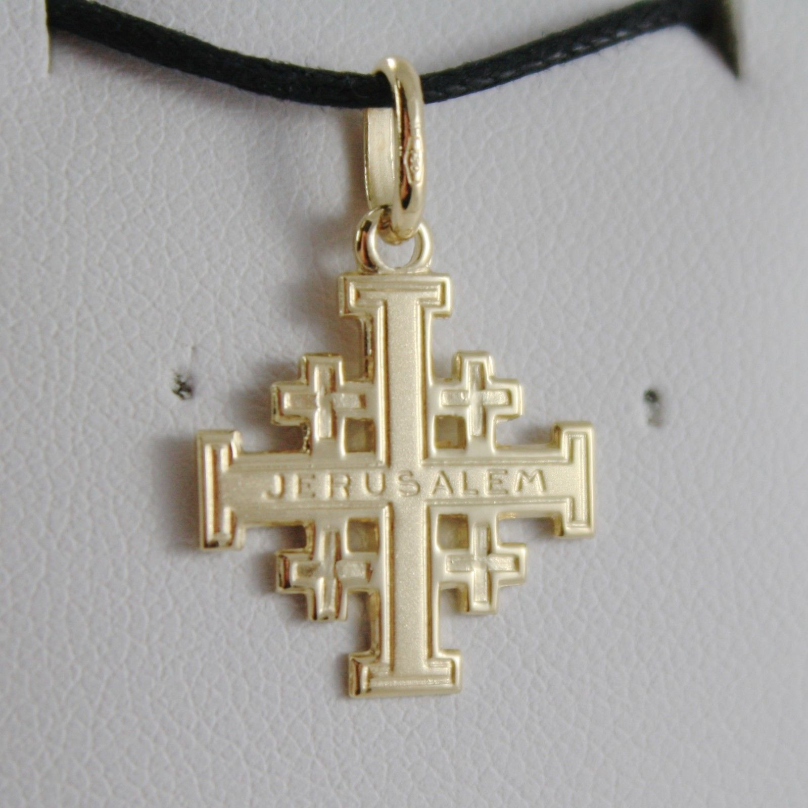 SOLID 18K YELLOW GOLD FLAT JERUSALEM CROSS, SMOOTH AND SATIN, MADE IN ITALY