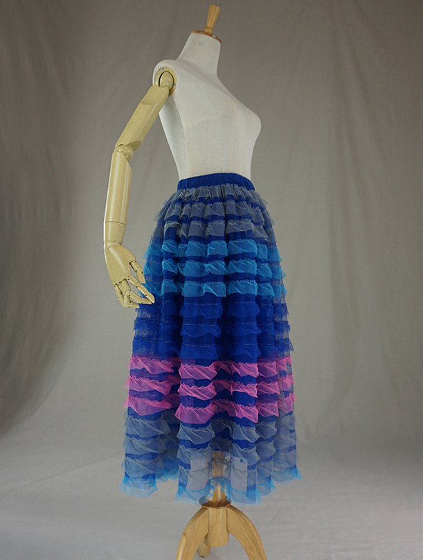 Tiered Tulle Skirt, Net Skirt, Midi Tulle Skirt, Tiered Mesh Skirt, Party Outfit
