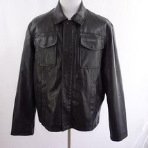Levis Faux Leather Black Leather Snap and Zip Front Lined Jacket Mens Sz L - $43.53