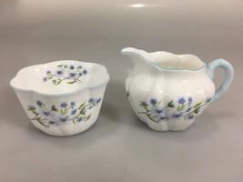 Shelley Dainty Blue Rock Scalloped Edge Sugar Bowl Creamer Bone China En... - $57.33