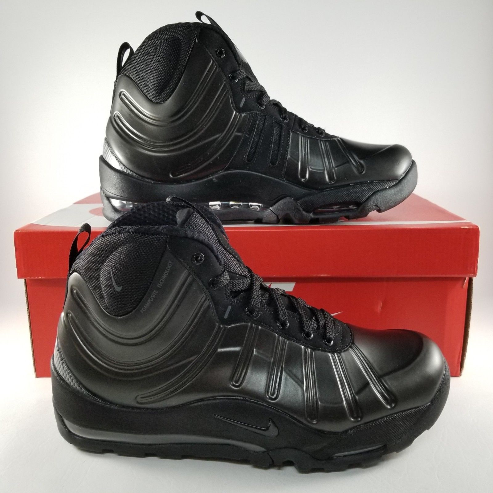 faef39359bf ... new zealand nike air bakin posite mens size 9.5 sneaker boots sneakers shoes  triple black 7db06 ...