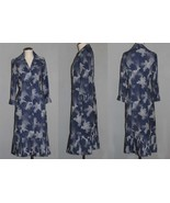 VTG Jane Andre Navy Whi Polka Dots Pleated Cuffs/Bottom Button Dress Wms... - $44.99