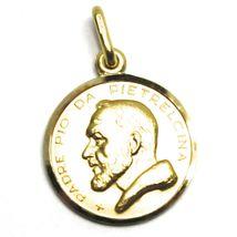 18K YELLOW GOLD MEDAL PENDANT, SAINT PIO OF PIETRELCINA 17mm VERY DETAILED image 3
