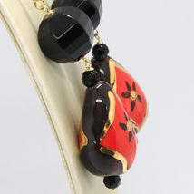 18K YELLOW GOLD EARRINGS ONYX, BLACK AND RED CERAMIC DROP HAND PAINTED IN ITALY image 3