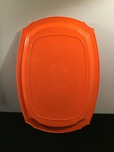Vintage 70s orange acrylic serving tray with floral art overlay image 3