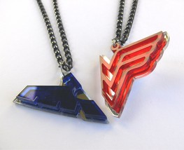 Nightwing Wonder Woman couple necklaces Laser cut blue red plastic - $17.74