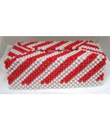 Handmade Christmas Candy Cane Beaded Tissue Box Cover Red White  - $38.12