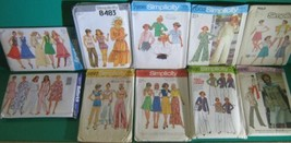 "1970s 10 Pattern Lot Vtg sz 12 34"" Simplicity Leisure PJs Skirt Dress Ja... - $14.35"