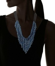 Saachi Navy Blue Austrian Crystal Beads V-Cut Collar Necklace NWT image 2