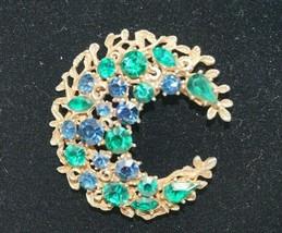 Vintage Signed Coro Green Blue Rhinestone Gold Tone Crescent Moon Pin Br... - $39.00