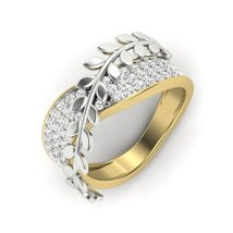 Solid 18k Two Tone Gold Swarovski Diamond Ring Leaf Vine Petal Diamond Ring Gift - $579.99