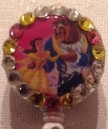 Beauty and the Beast Badge Reel Id Holder Swarovski Crystals Belle Handm... - $9.95