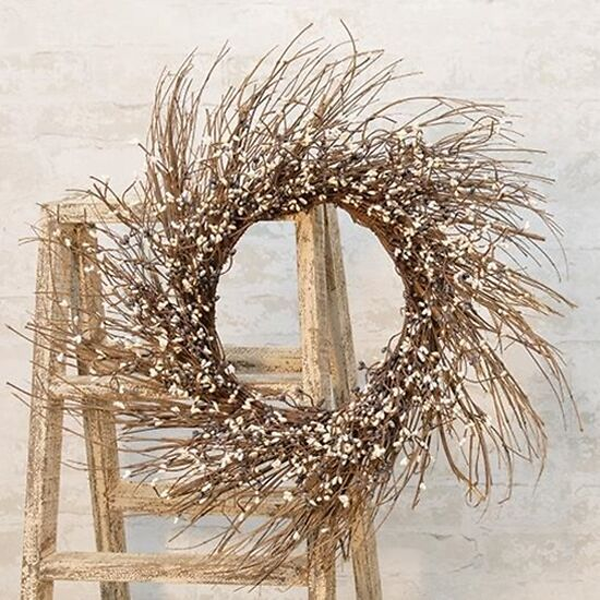 "NEW  22"" Mix Pip Berry Twig Handing Wreath Primitive Farmhouse Wall Decor - $39.95"