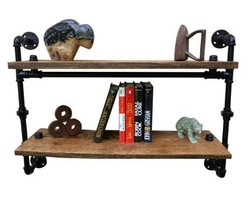 "Farmhouse Style Shelving, Reclaimed Wood & Pipe Wall Shelf, 11"" Shelf Sp... - $345.00"