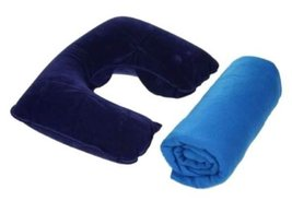 Inflatable Pillow and Fleece Blanket Travel Kit - $9.99