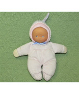 """COROLLE BABY DOLL RATTLE 8"""" 2008 SOFT BODY PINK WHITE STRIPED PAJAMA BAB... - $17.82"""