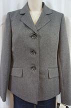 """Le Suit Blazer Sz 4 Heater Grey """"Harvest Berry"""" Faux Pocket Business Jac... - $39.53"""