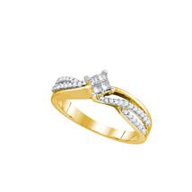 14k Yellow Gold Womens Princess Diamond Cluster Promise Bridal Ring 1/3 ... - $594.00