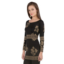 Ira Soleil black polyester knitted strechable block printed long sleeves... - $49.99