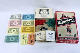 ORIGINAL Vintage 1954 Parker Brothers Popular Monopoly Board Game w/ Woo... - £42.55 GBP