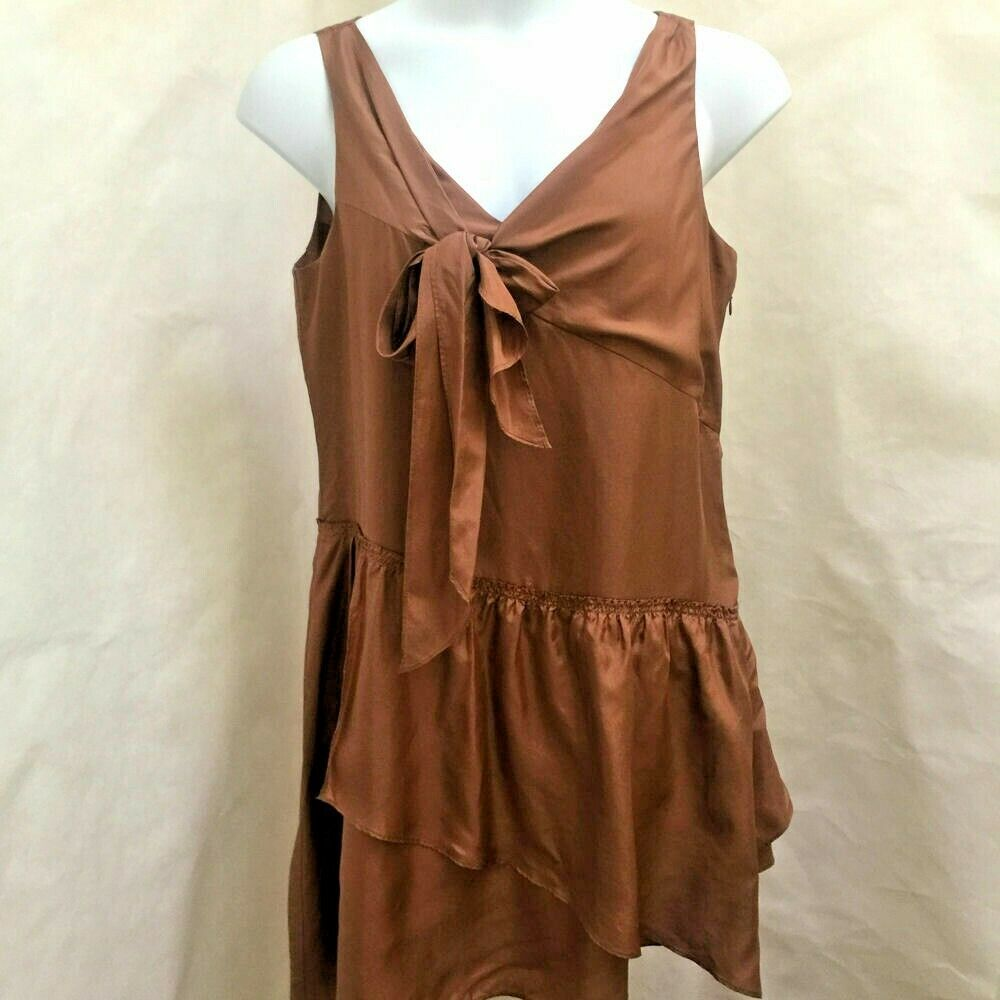 J Crew 12 Effie Scarf Dress Brown Sepia Silk Tie Sleeveless Tiered Asymmetric