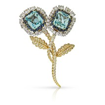 David Webb Blue Aquamarine Cabochon Sapphires Diamond Brooch Pin Also Ea... - $38,249.99