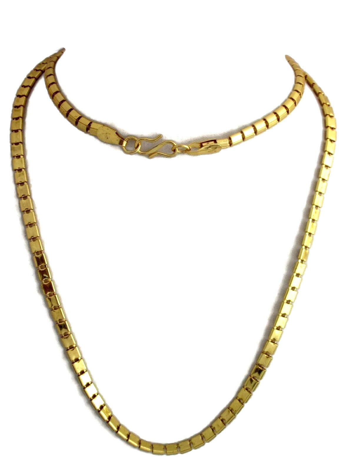 "Indian Bollywood Gold Plated 30"" Long Box Chain Wedding Necklace Fashion Jewelry"
