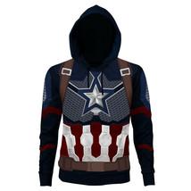 Avengers 4 Endgame Captain America Hoodie Cosplay Sweatshirt Printed Zip... - $23.99