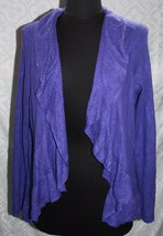 Chicos Sz 2 L 12 Cardigan Sweater Ruffle Front Blue / Purple Bright - $35.59