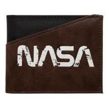 NASA TEXT LOGO BUZZ ALDRIN BLACK NYLON BROWN PU FAUX LEATHER BIFOLD MENS... - £11.42 GBP