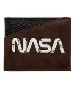 NASA TEXT LOGO BUZZ ALDRIN BLACK NYLON BROWN PU FAUX LEATHER BIFOLD MENS... - $15.91