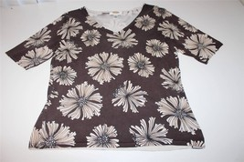 W8794 Womens TALBOTS PETITES Brown Ivory Flower Print SILK SWEATER Small SP - $14.50