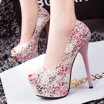 PP070 Sweet breaking flowers pumps, lace covered pu leather,size 34-39, ... - $48.80