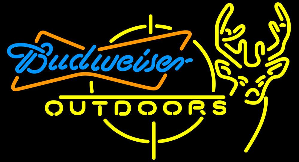 Budweiser outdoors deer hunting neon sign 16  x 16