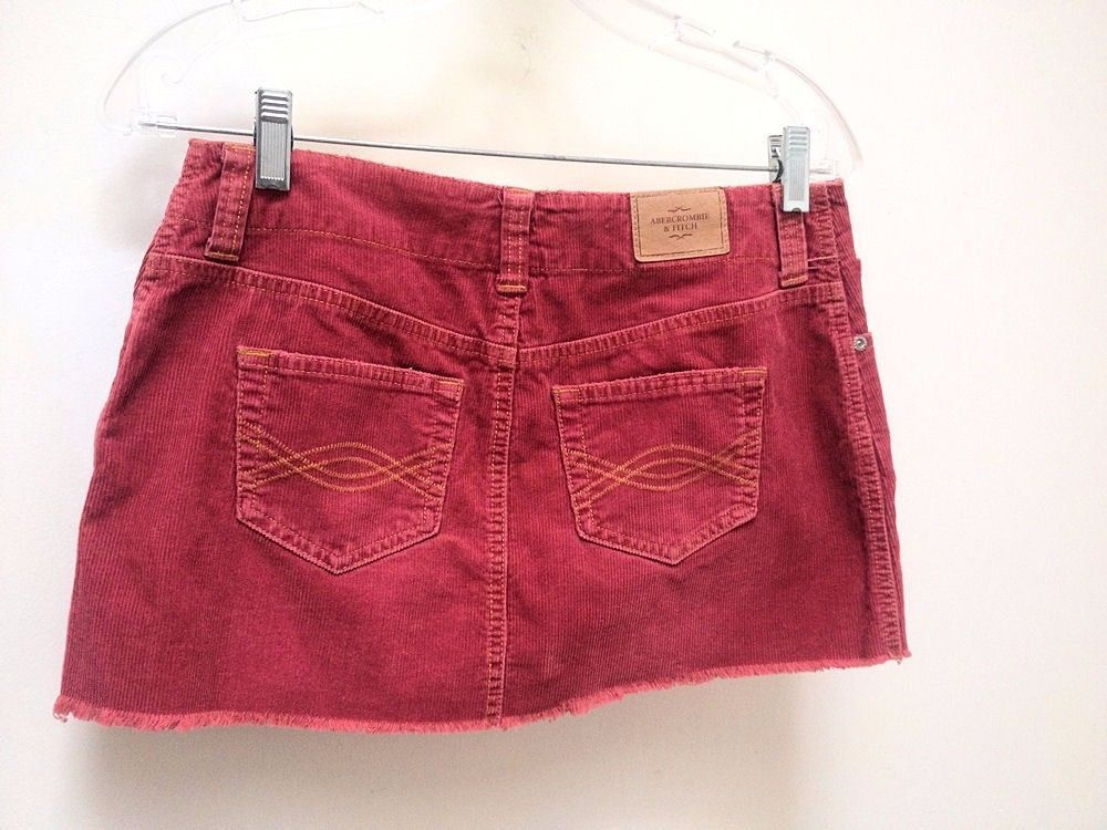 Abercrombie Fitch 0 Skirt Red Corduroy Mini Fringe