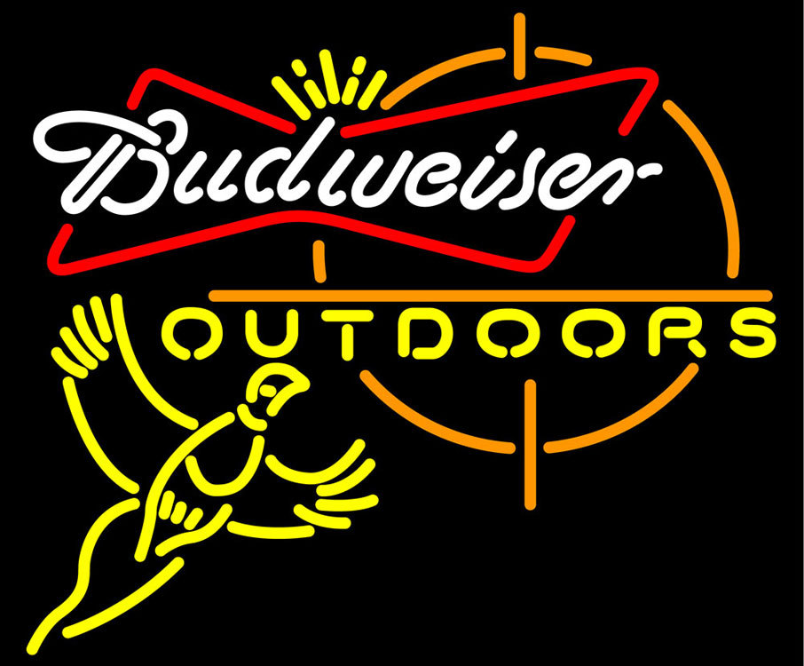 Budweiser outdoors pheasant hunting neon sign 20  x 20