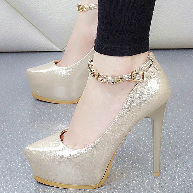 PP071 Sweet characters strappy pumps, slim heels,size 34-38, beige