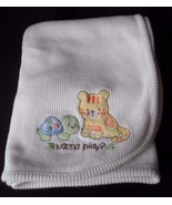 White Baby Blanket Thermal Tiger Cat Turtle White Security Lovey - $18.57