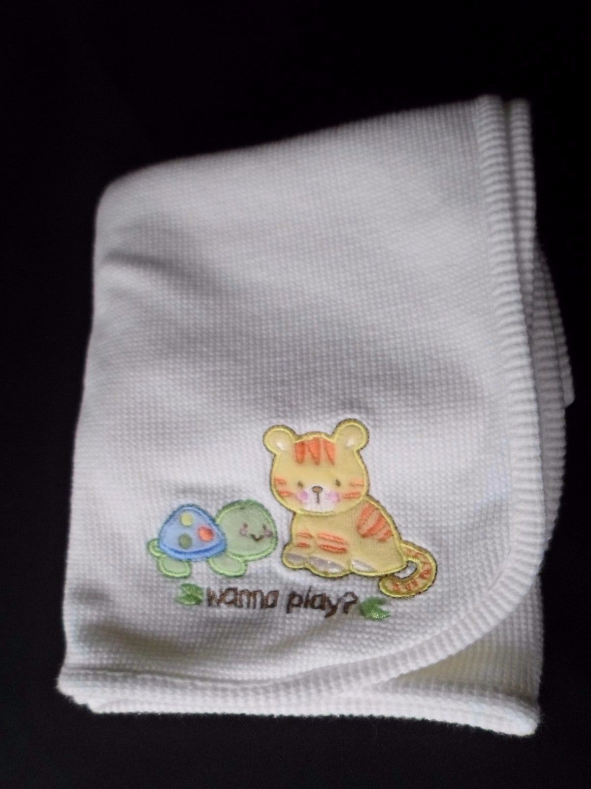 White Baby Blanket Thermal Tiger Cat Turtle White Security Lovey