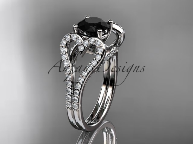Eafring395 white gold  platinum  diamond wedding ring  diamond engagement ring  black diamond  1