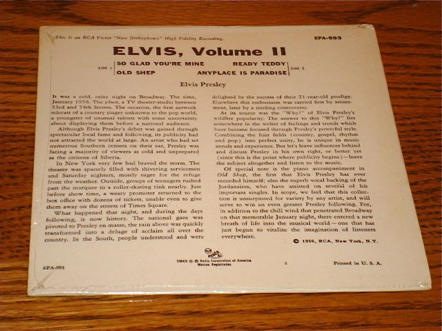 ELVIS VOLUME II  Original  EPA-993  STILL FACTORY SEALED!