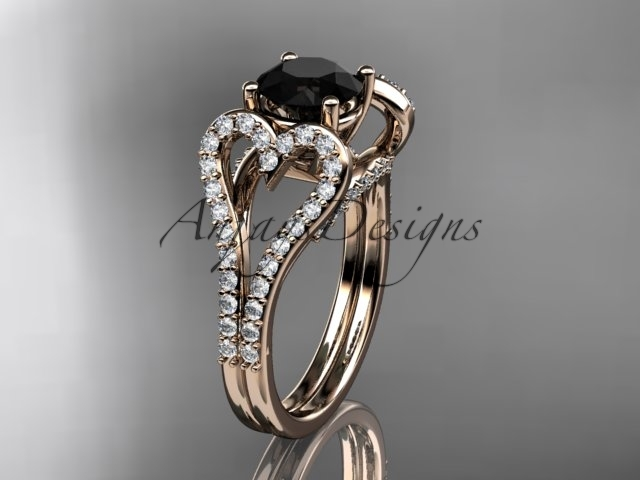 Leafring395 rose gold  diamond wedding ring  diamond engagement ring  black diamond  1