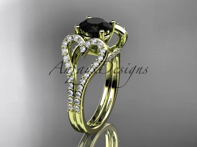 Leafring395 yellow gold  diamond wedding ring  diamond engagement ring  black diamond  1